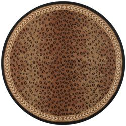 Hand-hooked Chelsea Leopard Brown Wool Rug (5'6 Round)