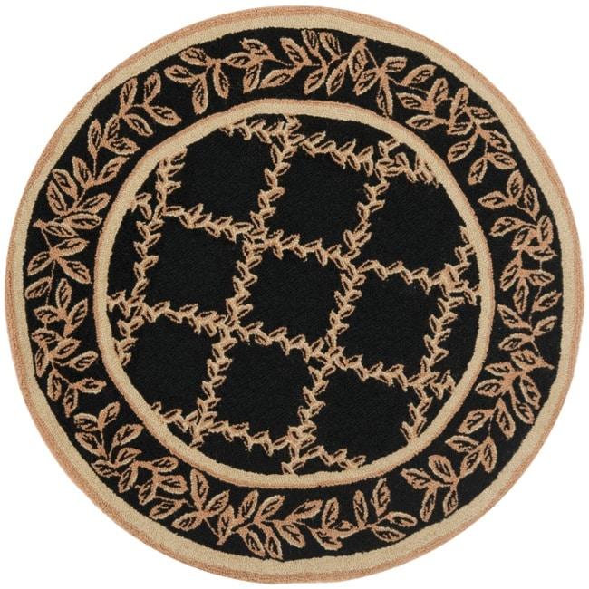 Safavieh Hand-hooked Trellis Black/ Beige Wool Rug (4' Round)
