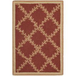 Safavieh Hand-hooked Trellis Rust/ Beige Wool Rug (1'8 x 2'6)