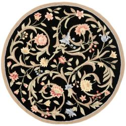 Safavieh Hand-hooked Garden Scrolls Black Wool Rug (5'6 Round)