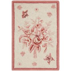 Hand-hooked Garden Ivory/ Rose Wool Rug (1'8 x 2'6)