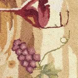 Hand-hooked Winery Gold/ Multi Wool Rug (1'8 x 2'6)