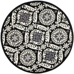 Hand-hooked Chelsea Heritage Black Wool Rug (8' Round)