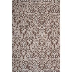 Hand-hooked Chelsea Damask Brown Wool Rug (8'9 x 11'9)