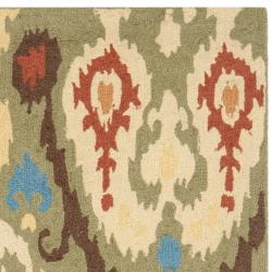 Hand-hooked Chelsea Green Wool Rug (6' x 9')