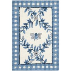 Safavieh Hand-hooked Bumblebee Ivory/ Blue Wool Rug (1'8 x 2'6)