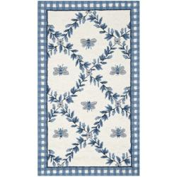 Hand-hooked Bumblebee Ivory/ Blue Wool Rug (2'9 x 4'9)