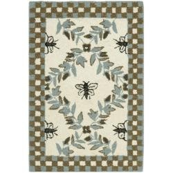 Safavieh Hand-hooked Bumblebee Ivory/ Blue Green Wool Rug (1'8 x 2'6)