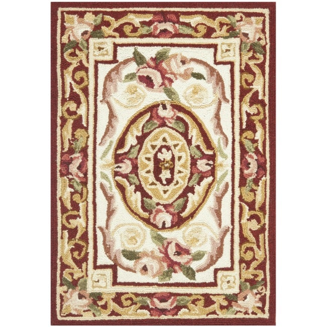 Safavieh Hand-hooked Aubusson Ivory/ Burgundy Wool Rug (1'8 x 2'6)