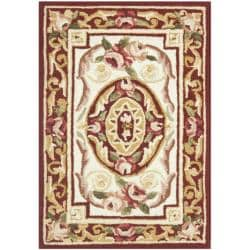 Hand-hooked Aubusson Ivory/ Burgundy Wool Rug (1'8 x 2'6)