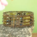 Handcrafted Wide Flexible Copper Irridescent Seed Bead Cuff Bracelet (India)