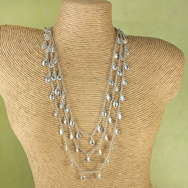 Handcrafted Three Strand HammeredSilvertone Nuggets Necklace (India)