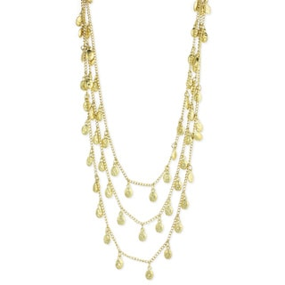Handcrafted Three Strand Hammered Goldtone Nuggets Necklace (India)