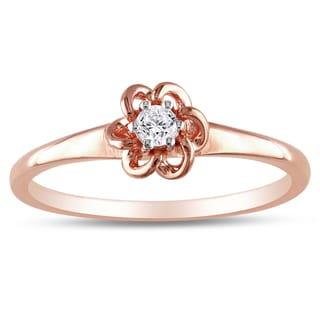 Miadora 10k Pink Gold 1/10ct TDW Diamond Flower Ring (H-I, I2-I3) with Bonus Earrings