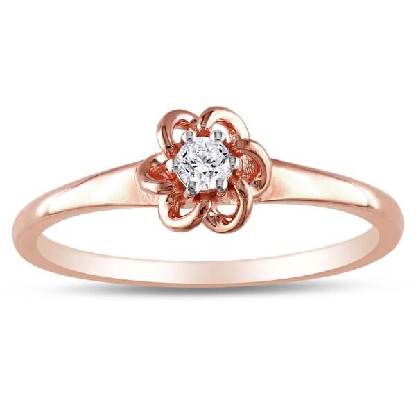 Haylee Jewels 10k Pink Gold 1/10ct TDW Diamond Flower Ring (H-I, I2-I3)