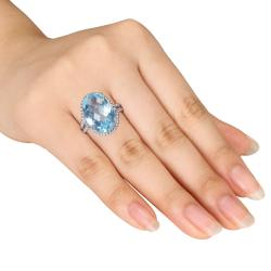 Miadora Sterling Silver Blue Topaz or Green Amethyst Fashion Ring