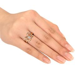 Miadora 10k Yellow Gold Diamond Accent Butterfly Ring