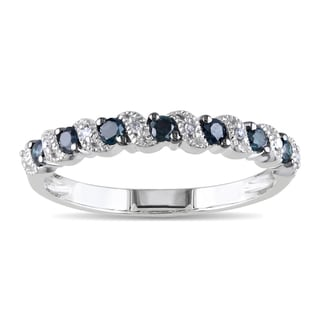 Miadora 10k White Gold 1/4ct TDW Blue and White Diamond Ring (G-H, I1-I2)