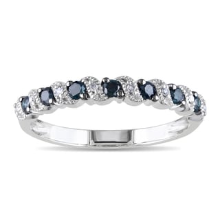 Miadora 10k White Gold 1/4ct TDW Blue and White Diamond Ring