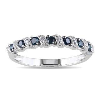 Miadora 10k White Gold 1/4ct TDW Blue and White Diamond Ring with Bonus Earrings