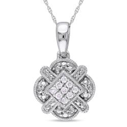 Miadora 10k White Gold 1/10ct TDW Round-cut Diamond Necklace (G-H, I1-I2)
