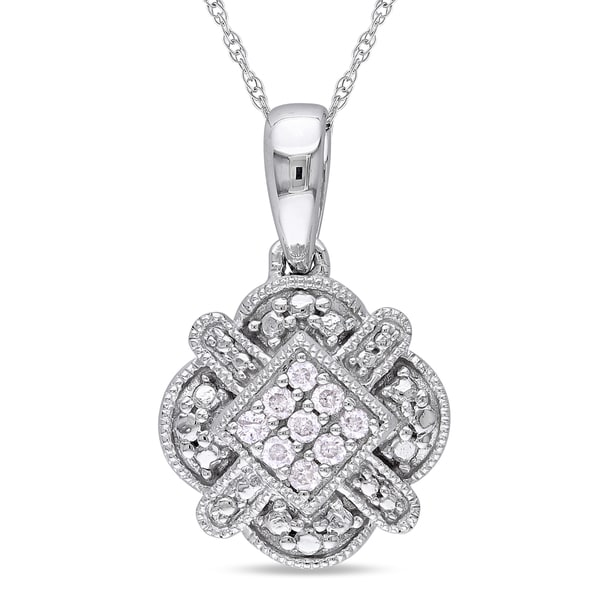 Miadora 10k White Gold 1/10ct TDW Round-cut Diamond Necklace (G-H, I1-I2)