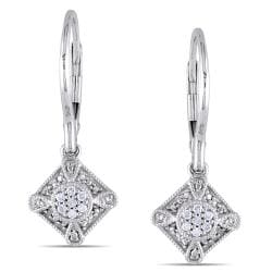 Miadora 10k White Gold 1/10ct TDW Diamond Leverback Earrings (G-H, I1-I2)