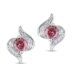 Miadora 10k Gold 1/3ct TDW Pink and White Diamond Earrings (H-I, I2-I3)