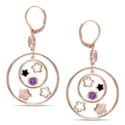Miadora Pink Rhodiumplated Silver Amethyst and Rose de France Earrings