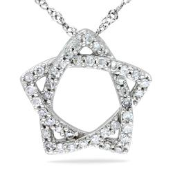 Miadora 14k White Gold 1/5ct TDW Diamond Star Necklace (G-H, SI1-SI2)