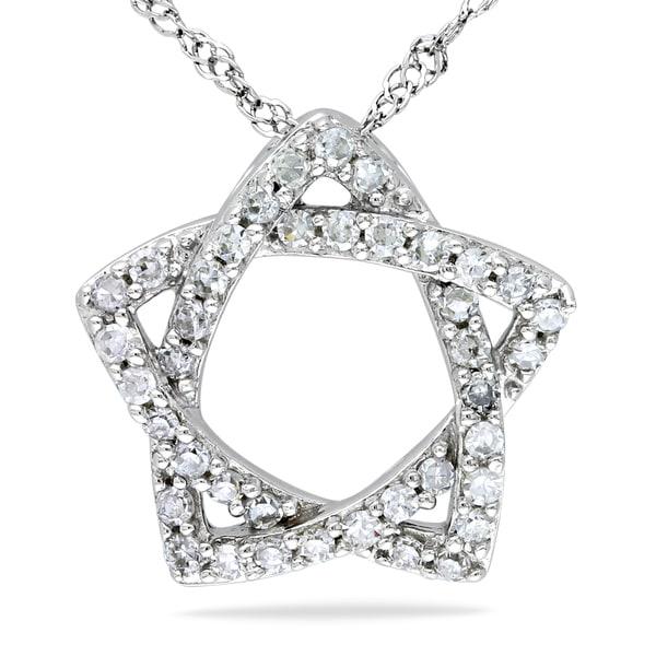 Miadora 14k White Gold 1/5ct TDW Diamond Star Necklace (G-H, SI1-SI2)