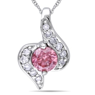 Miadora 10k Gold 1/5ct TDW Pink and White Diamond Necklace (G-H, I1-I2)