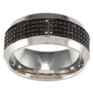Stainless Steel 1/3ct TDW Black Diamond Band