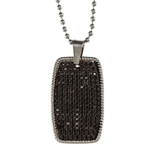 Stainless Steel 1ct TDW Black Diamond Necklace