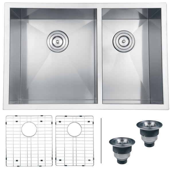 Ruvati Stainless Steel Double Bowl Kitchen Sink with Rinse Grids and Basket Strainers 9453316