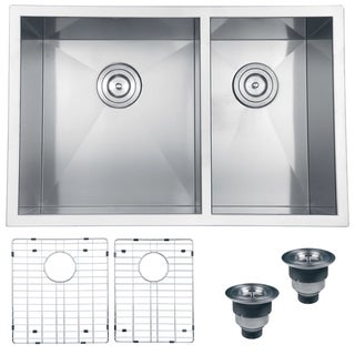 Ruvati Stainless Steel Double Bowl Kitchen Sink with Rinse Grids and Basket Strainers