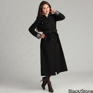 London Fog Women's Two-tone Belted Raincoat