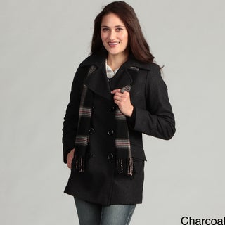 London Fog Women's Double Breasted Wool Coat Scarf
