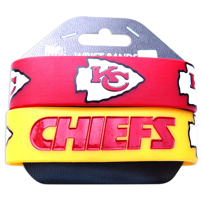 Kansas City Chiefs Rubber Wrist Band (Set of 2) NFL