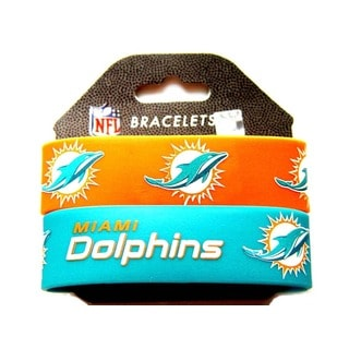Miami Dolphins Rubber Wrist Band (Set of 2) NFL