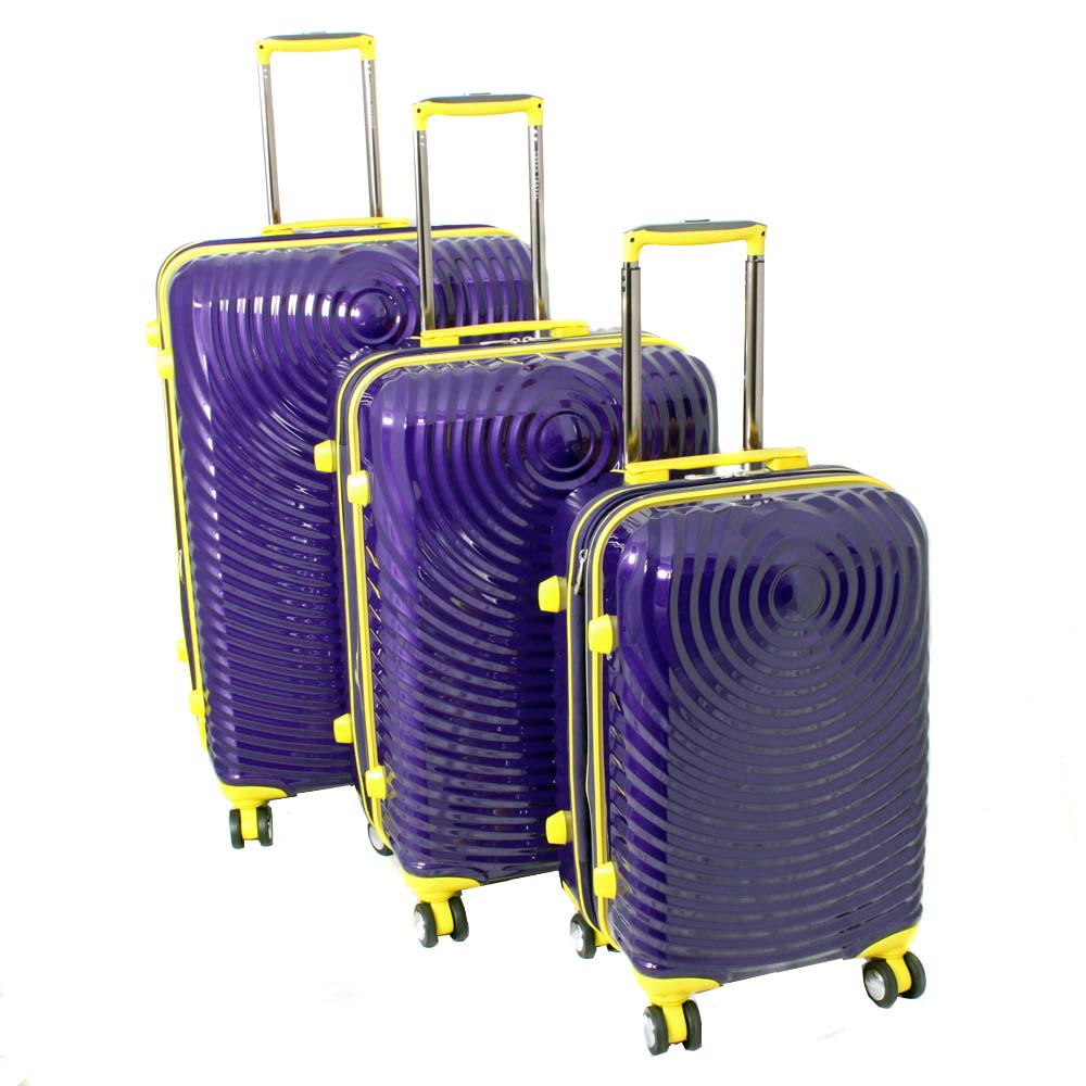 American Vertigo Purple 3-piece Lightweight Expandable Hardside Spinner Luggage Set With TSA Lock