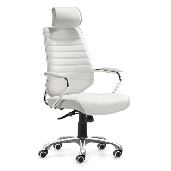 Zuo Enterprise White High Back Leatherette Office Chair