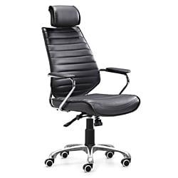 Zuo Enterprise Black High Back Leatherette Office Chair