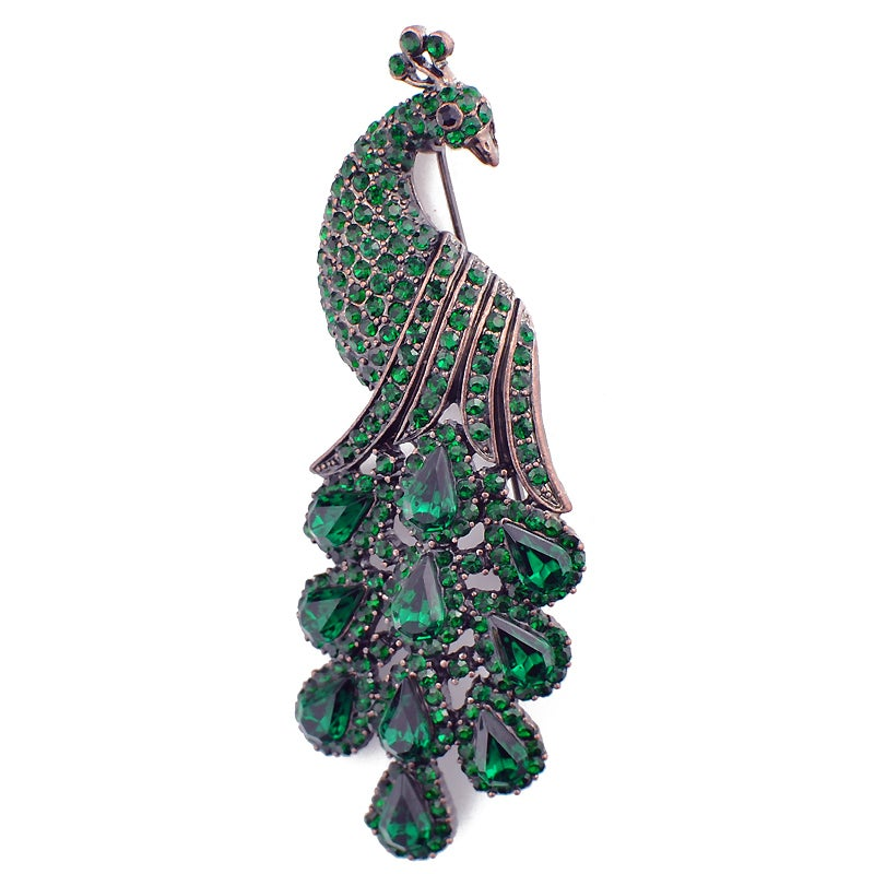 Rose Goldtone Green Austrian Crystal Vintage-style Peacock Pin