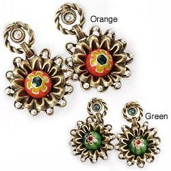 Sweet Romance Zinnia Millefiori Glass Earrings