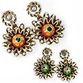 Sweet Romance Zinnia Millefiori Glass Earrings