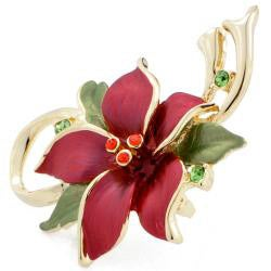 Red Christmas Star Poinsettia Flower Crystal Pin Brooch and Pendant
