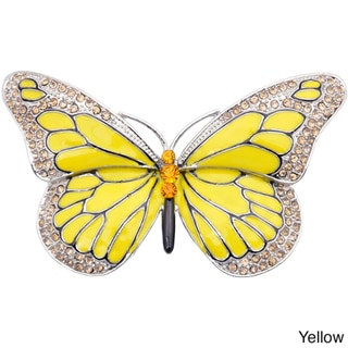 Silvertone Austrian Crystal and Yellow Enamel Butterfly Flower Pin