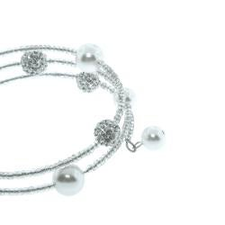 Eternally Haute White Czech Crystal, White Glass Pearl and Seed Stone Wrap Bracelet