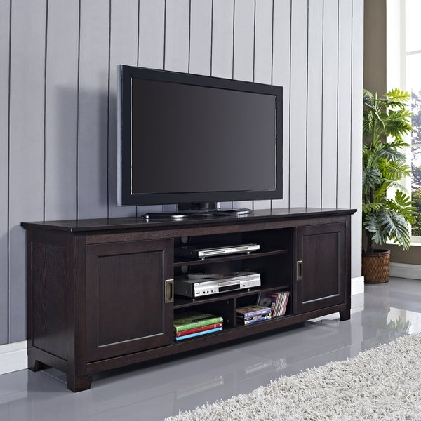 70 in Espresso Wood TV Stand with Sliding Doors